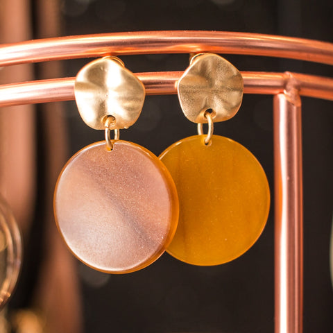 Retro Gold Disc 70s Earrings