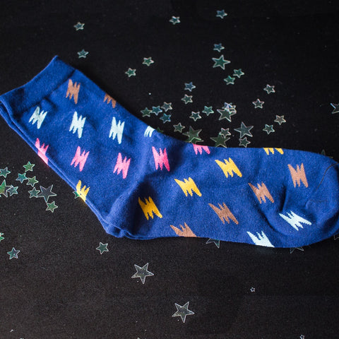 Blue Lightning Bolt socks