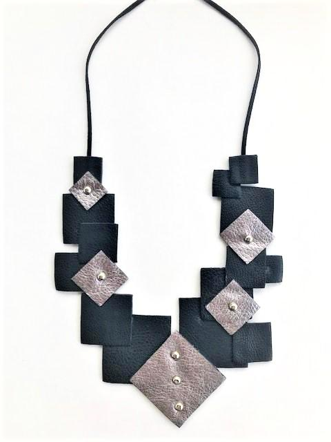 """21"" bib necklace-handmade leather bags-handcrafted leather-unique design bag-luxury leather bag-stylish bag-OKOhandbags"