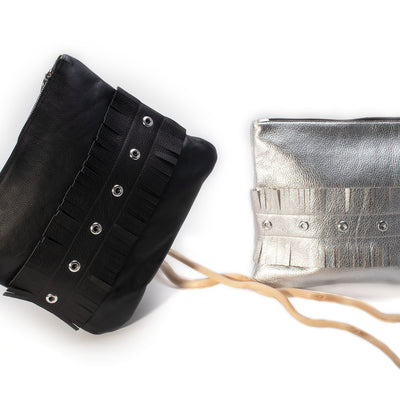 """Franny"" pouch/clutch-handmade leather bags-handcrafted leather-unique design bag-luxury leather bag-stylish bag-OKOhandbags"