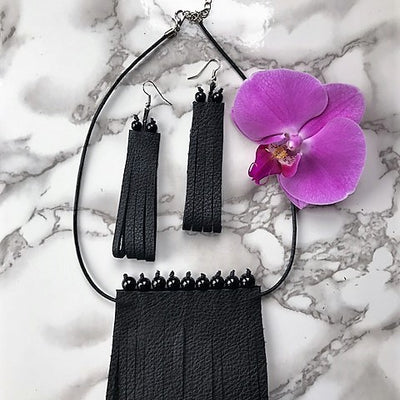 Margo necklace and earrings set-handmade leather bags-handcrafted leather-unique design bag-luxury leather bag-stylish bag-OKOhandbags