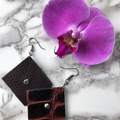 Viva necklace and earrings-handmade leather bags-handcrafted leather-unique design bag-luxury leather bag-stylish bag-OKOhandbags