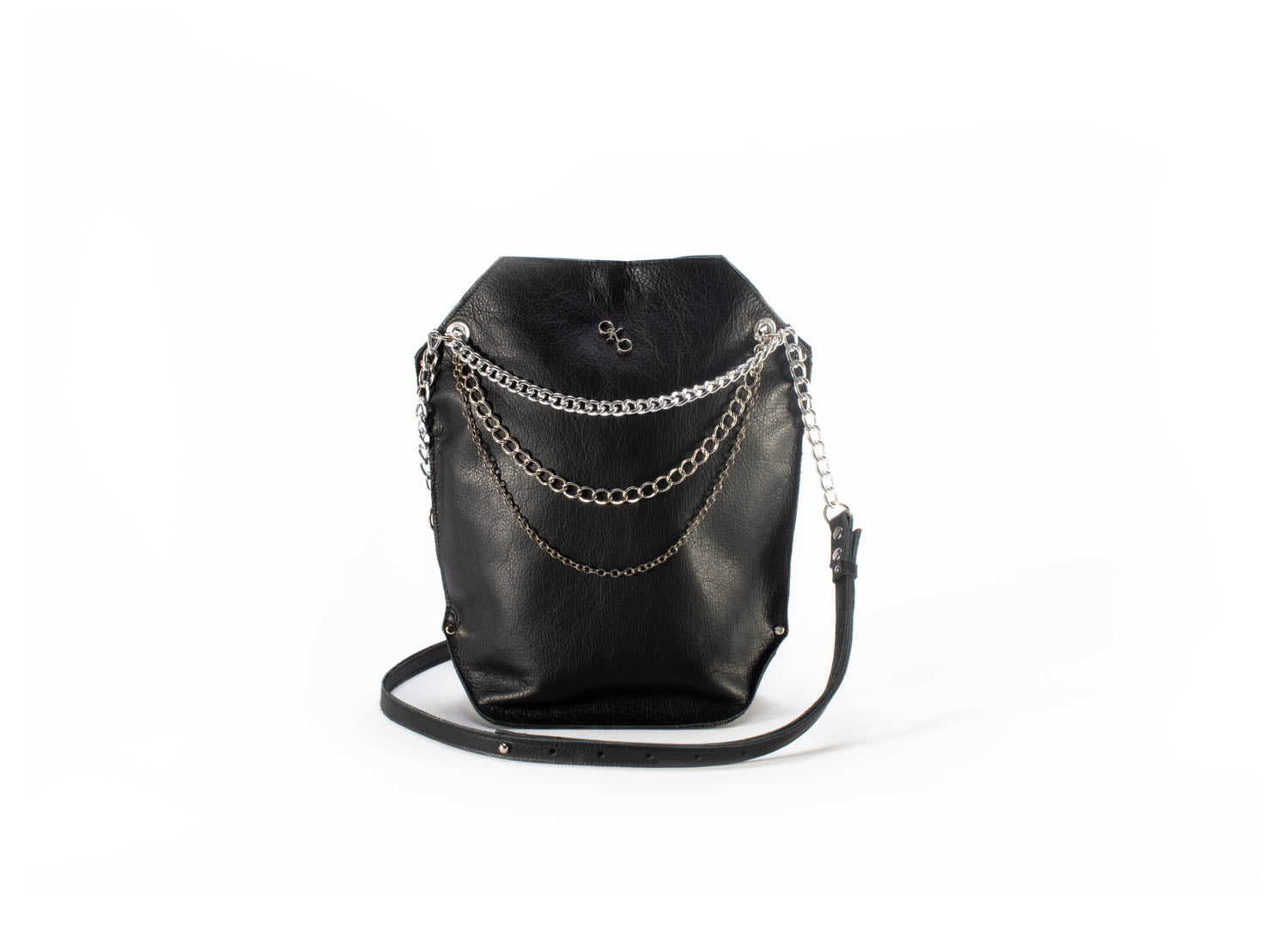 """Urban Chic"" shoulder bag with chains-handmade leather bags-handcrafted leather-unique design bag-luxury leather bag-stylish bag-OKOhandbags"
