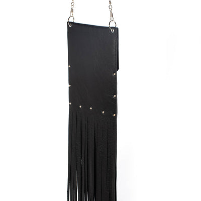 """Urban Chic"" cell phone pouch with fringe.-handmade leather bags-handcrafted leather-unique design bag-luxury leather bag-stylish bag-OKOhandbags"