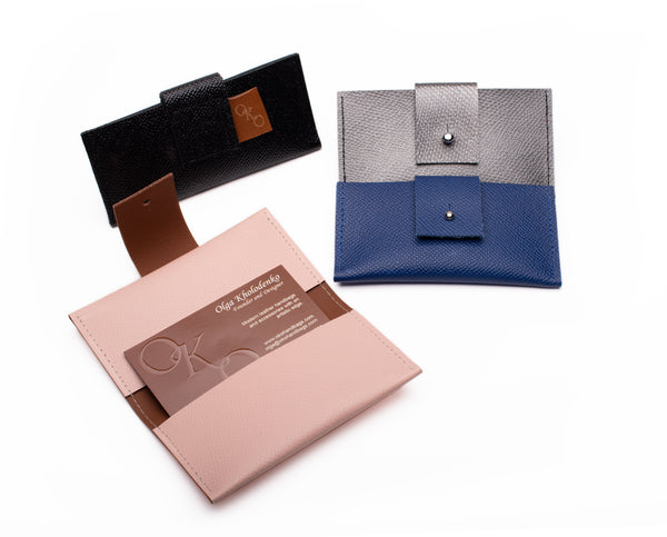 """Credit card/Business card"" double folded case-handmade leather bags-handcrafted leather-unique design bag-luxury leather bag-stylish bag-OKOhandbags"