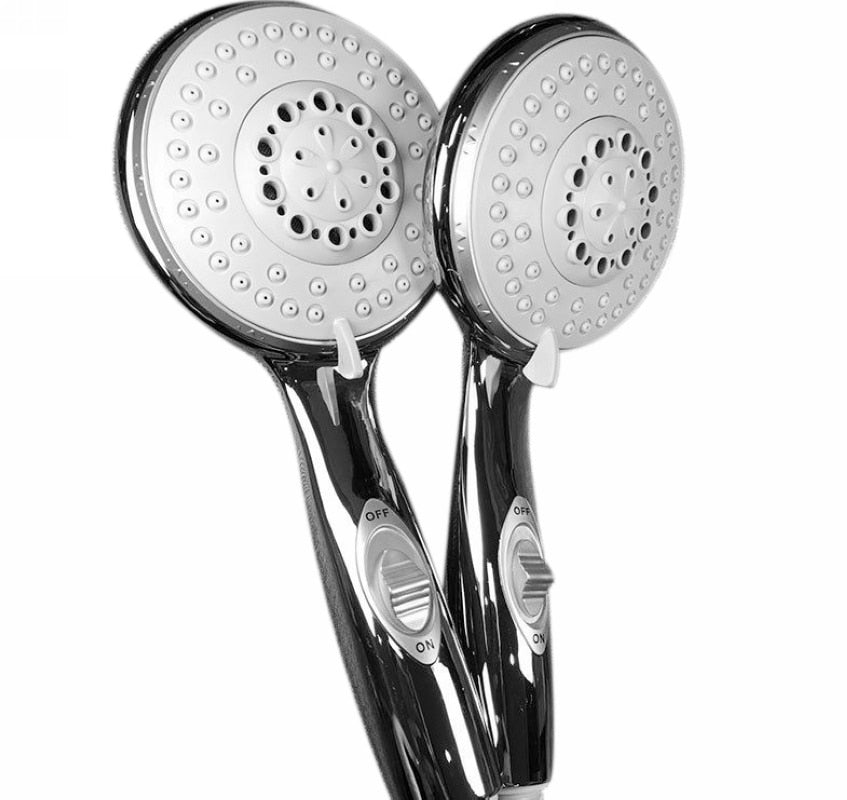 1 Pack - 4 Inch Bathroom Showerhead Chrome High Power 6 Setting Hand Shower Head With ON/OFF Pause Switch Bathroom Tools Mayitr