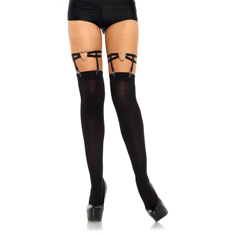 Dual Strap Elastic Thigh High Garter Suspender With Heart O/S Black