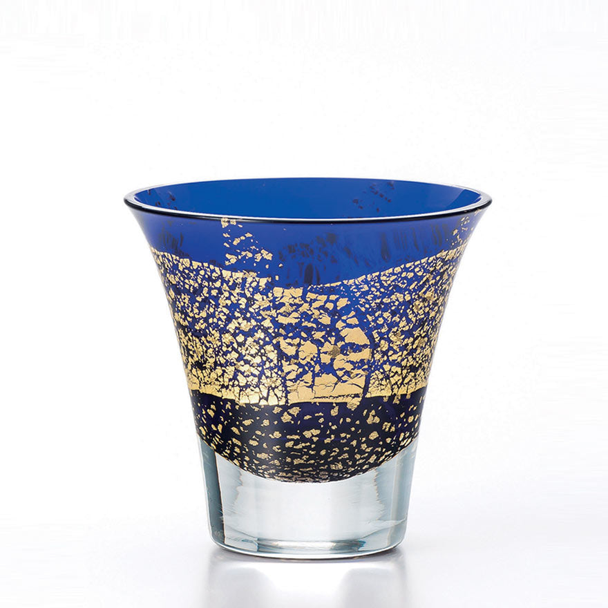 Blue Gold Leaf Crystal Sake Glass 85ml