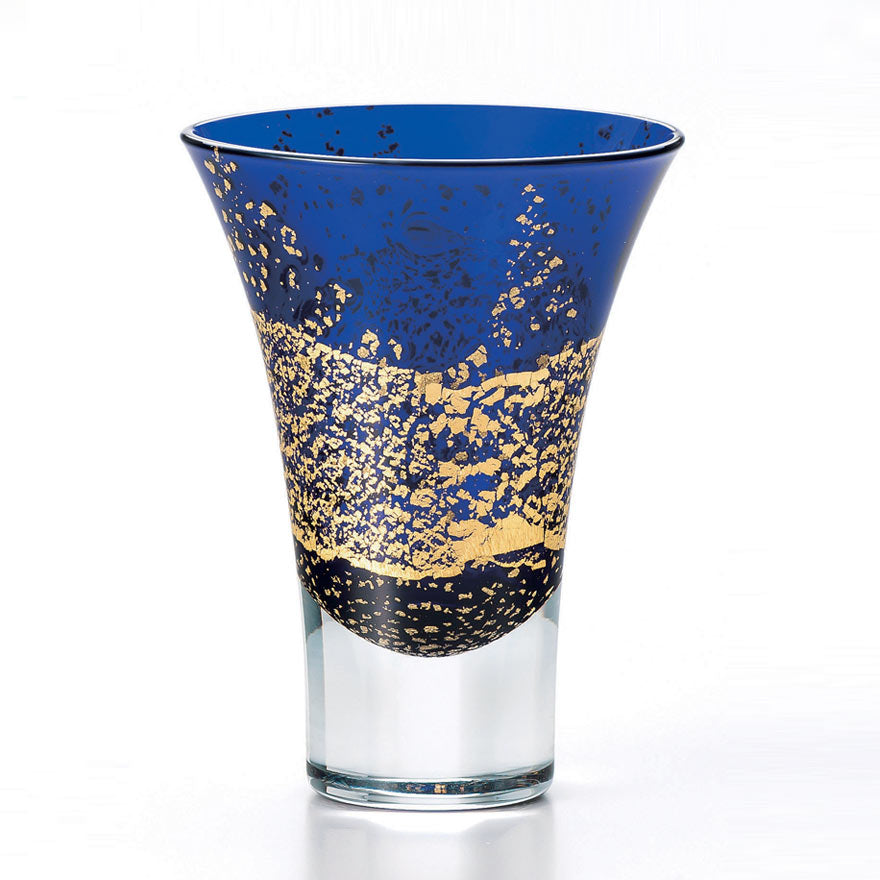 Blue Gold Leaf Crystal Sake Glass 95ml