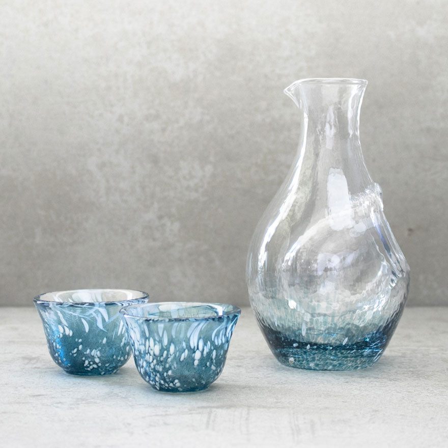 Handmade Glass Sake Set - Dark Blue 300ml