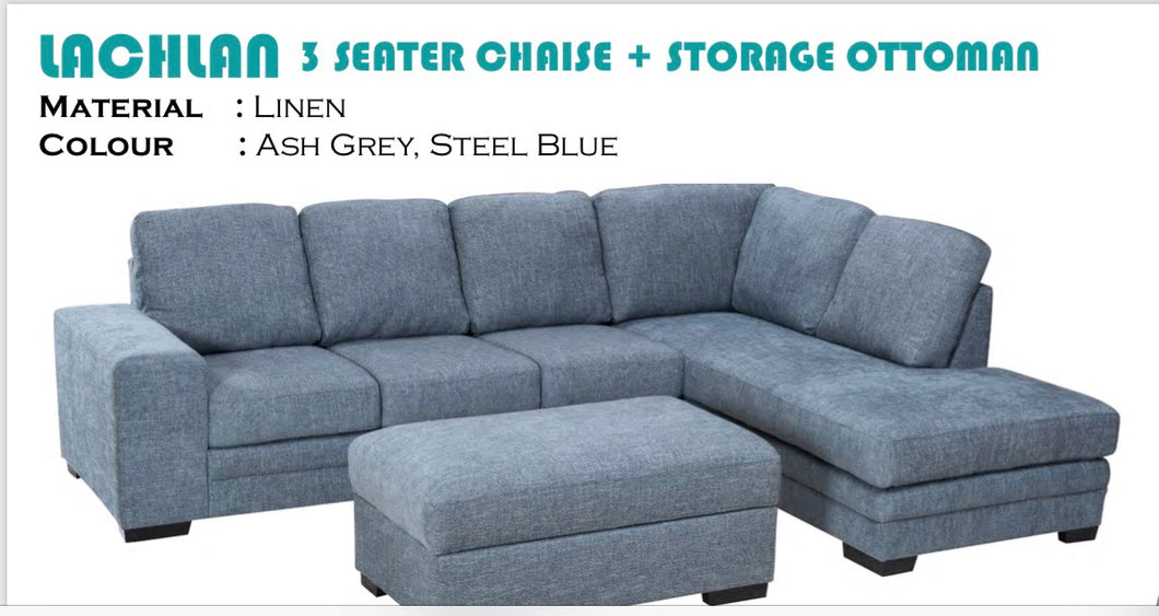 Lachlan 3 seater with chaise & storage ottoman