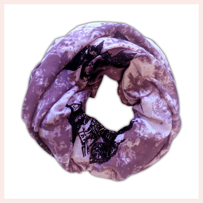 Cotton Blend Pink & Purple Scarf Featuring Silhouettes of Stunning Architecture 90 x 180 CM