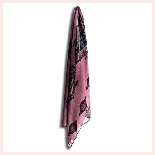 Polyester Purple Scarf with Elegant Pattern 90 x 180 CM
