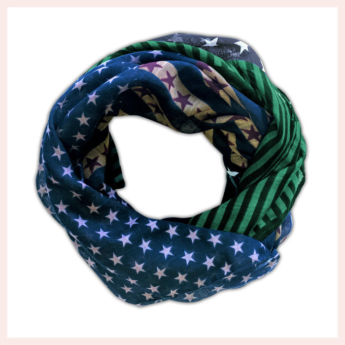 Polyester Scarf Vibrant Green, Gold & Blue with Stars and Stripes 90 x 180 CM