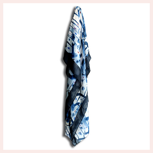 Cotton Blend Blue Scarf with Fabulous Designer Pattern 90 x 180 CM