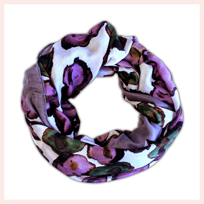 Cotton Blend Multi-Coloured Floral Patterned Scarf 90 x 180 CM