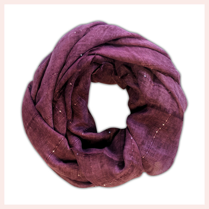 Polyester Elegant Burgundy Scarf with Accents 90 x 180 CM