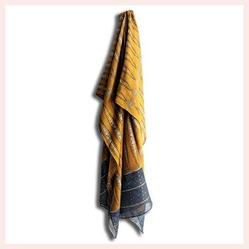 Polyester Gold and Blue Scarf with Intricate Designer Pattern 90 x 180 CM