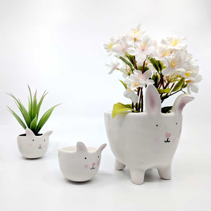 Bunny & Baby with Legs White Ceramic Planter