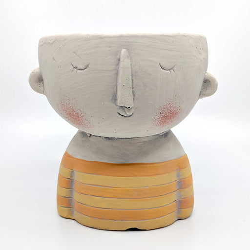 Girl Yellow Concrete Planter