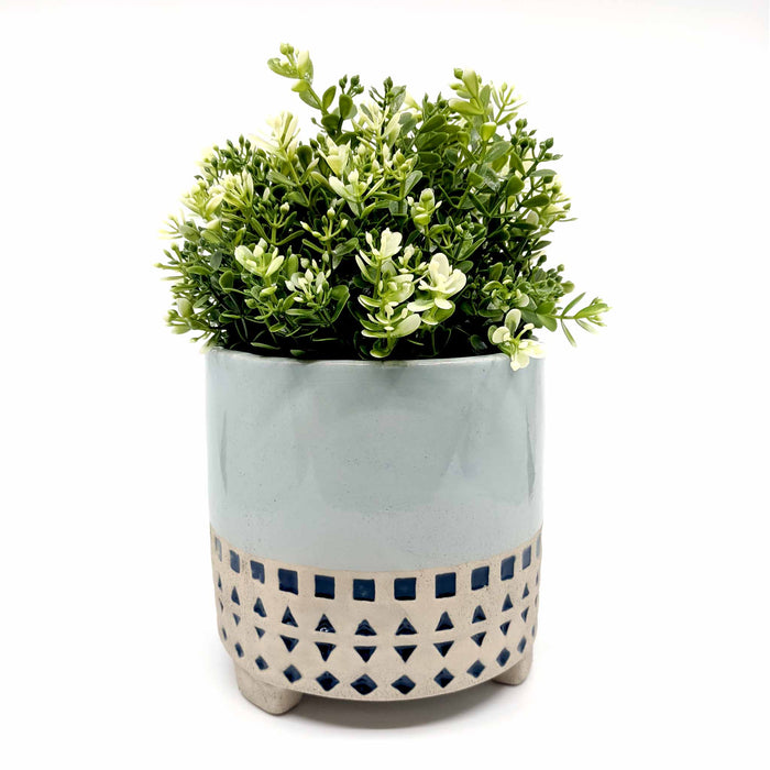 Kyra Geometric Blue with Legs Ceramic Planter
