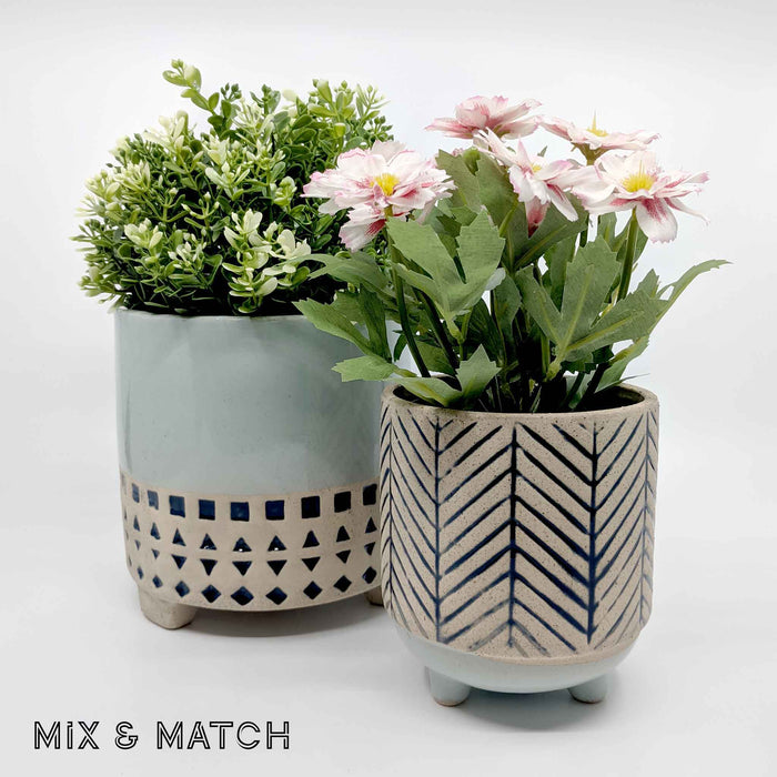 Kyra Hanging Geometric Blue Ceramic Planter