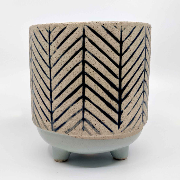 Kyra Stripe Blue with Legs Ceramic Planter