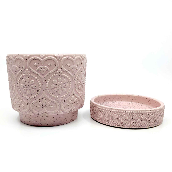 Pressed Heart & Saucer Pastel Pink Ceramic Planter