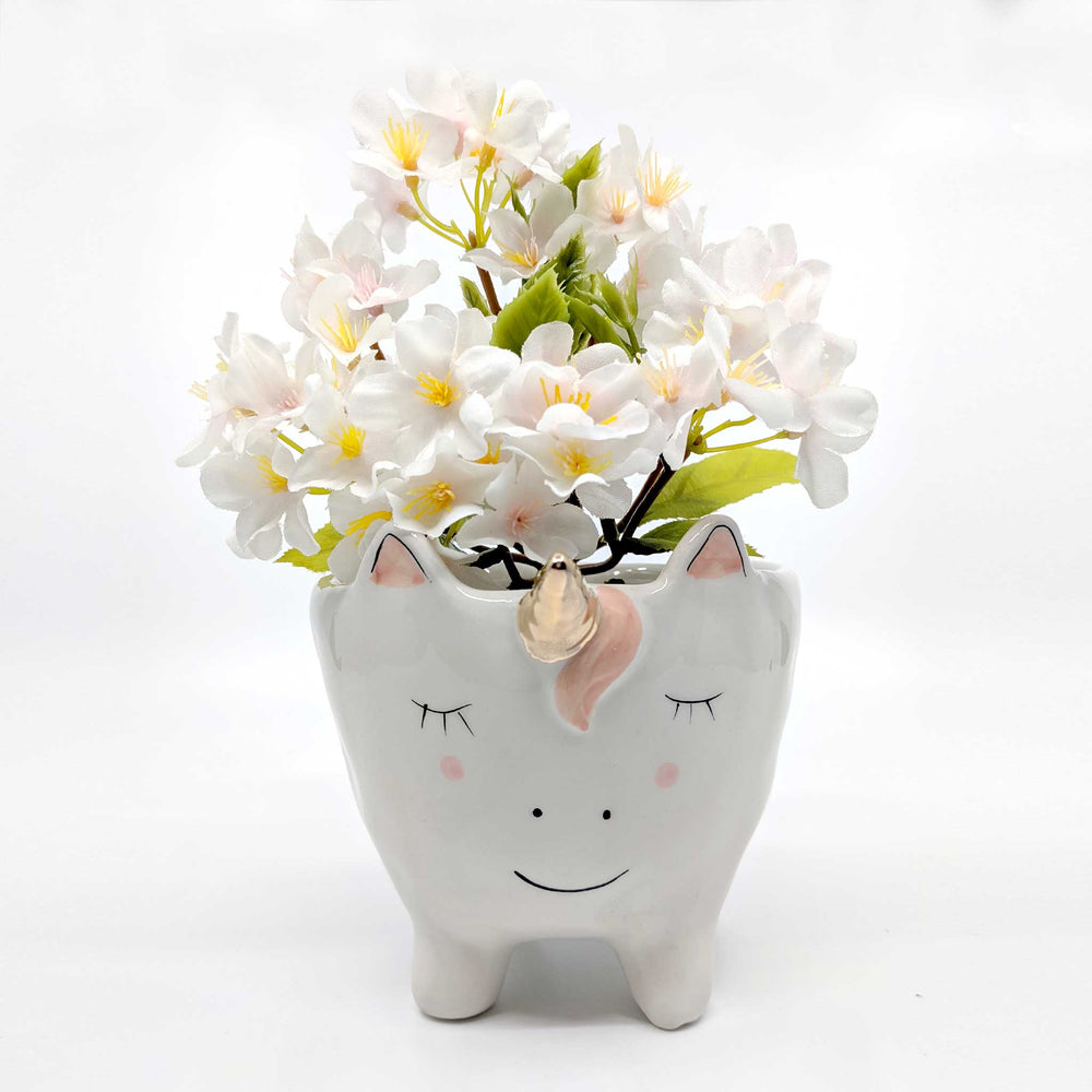 Unicorn on Legs White with Rainbow Tail Ceramic Planter