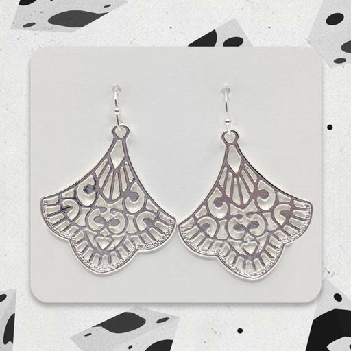 Silver Fan Designer Boho Earrings