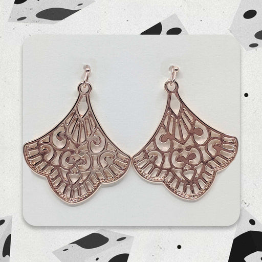 Rose Gold Fan Designer Boho Earrings
