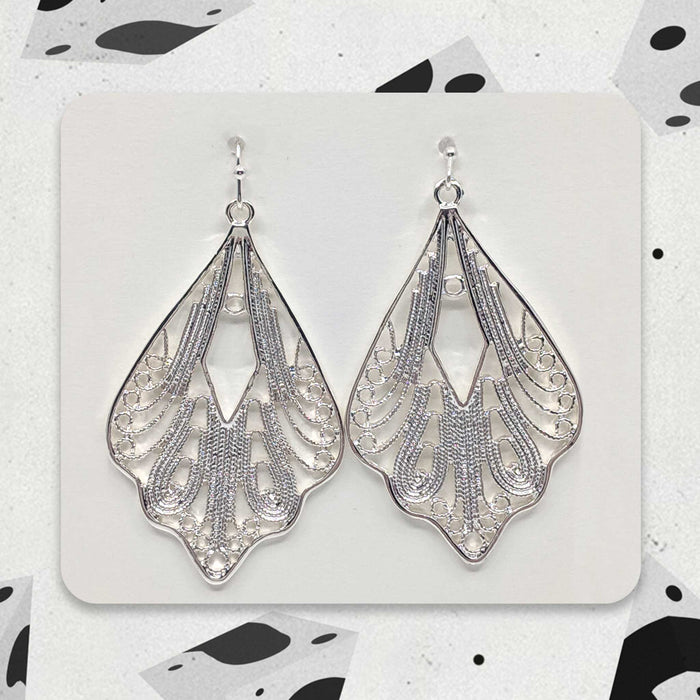 Silver Winged Designer Boho Earrings