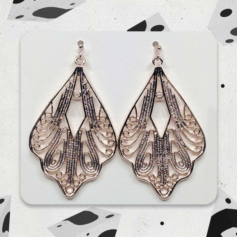 Rose Gold Winged Designer Boho Earrings