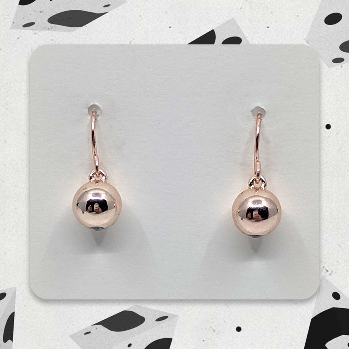 Rose Gold Globe Designer Charm Earrings with Crystal