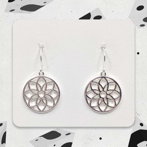 Silver Designer Mandala Charm Earrings