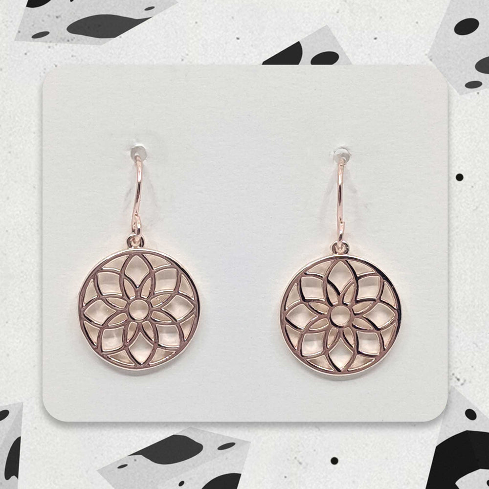 Rose Gold Designer Mandala Charm Earrings