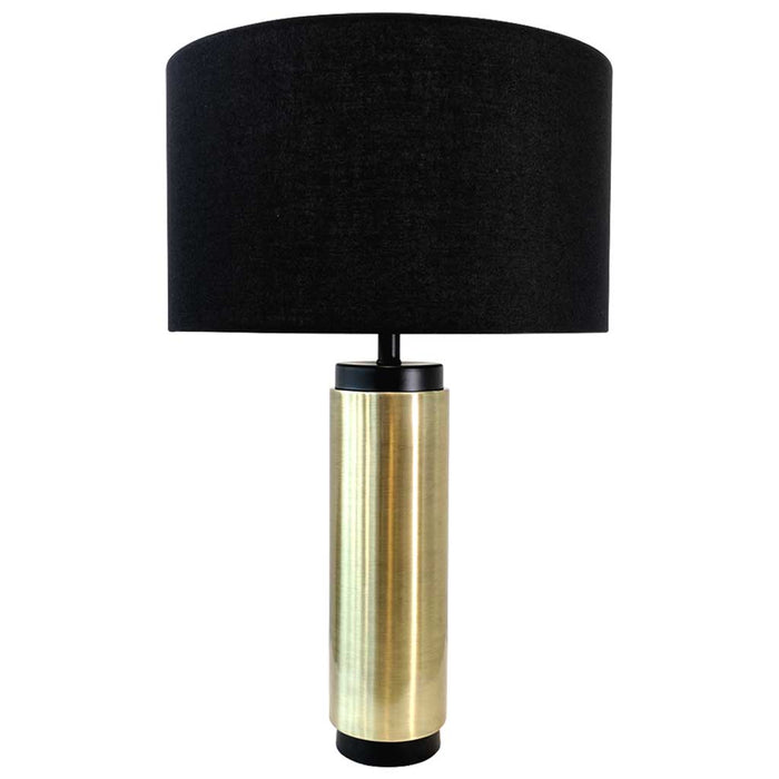 CLAUDE TABLE LAMP Sophisticated Brushed Brass and Black Base / Black Linen Shade