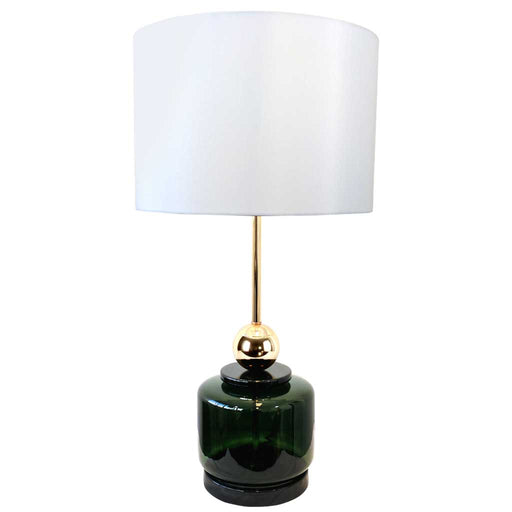 DOLPH TABLE LAMP 73cm Tall Bottle Green Glass & Gold Base / Cream White Shade