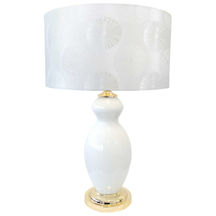 MONIQUE TABLE LAMP 67.5cm White Glass Base / Light Silver Tetron Cotton Shade