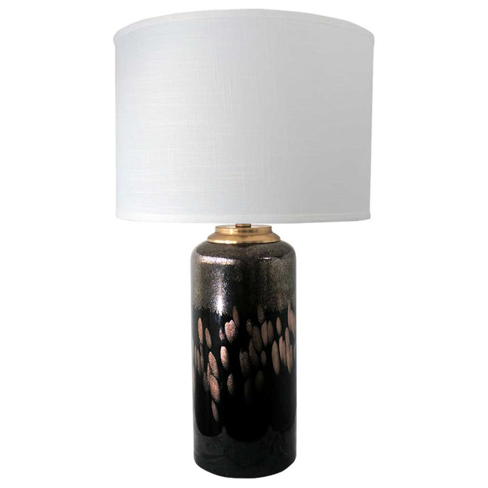 NOVA TABLE LAMP 69.5cm Hand Blown Black Glass Base / Cream White Linen Shade