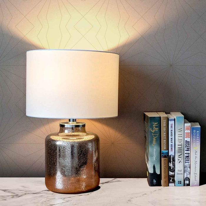 OPHELIA TABLE LAMP 44cm Rose Gold Patterned Glass Base / White Linen Drum Shade