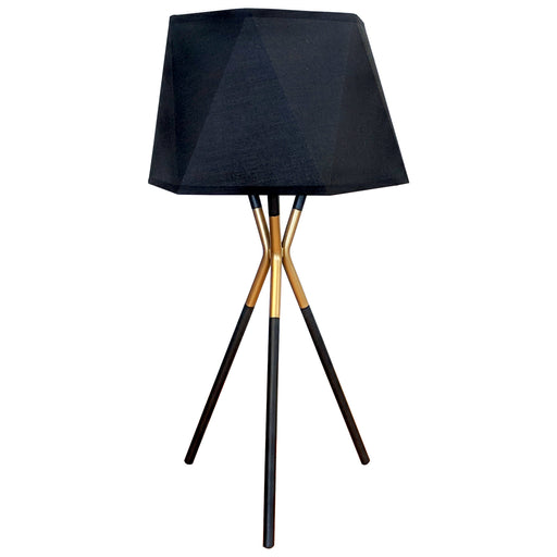 OSKAR TABLE LAMP 57.5cm Black Powder Coated Base / Hexagonal Tetron Cotton Shade