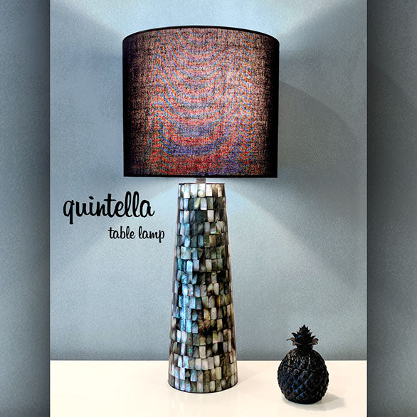 QUINTELLA TABLE LAMP 66.5cm Mother Of Pearl Shell Base / Black Linen Drum Shade