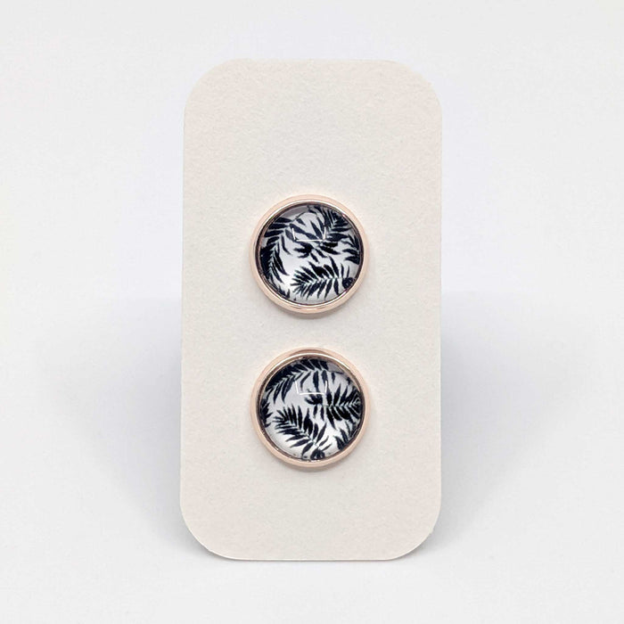 Rose Gold Tropical Fern Designer Stud Earrings with 925 Silver Posts