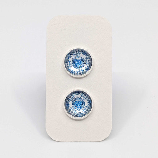 Silver Blue Tapestry Designer Stud Earrings with 925 Silver Posts