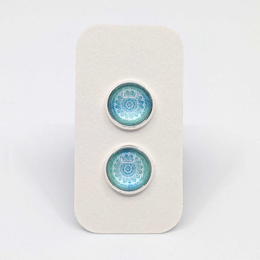 Light Blue Mandala Designer Stud Earrings with 925 Silver Posts