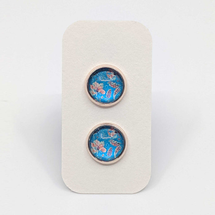 Rose Gold Spring Floral Designer Stud Earrings with 925 Silver Posts