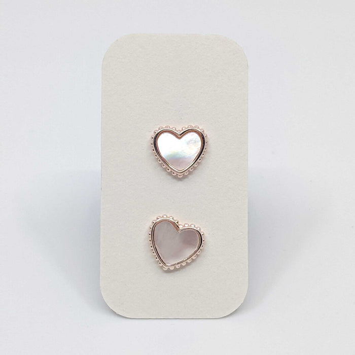 Rose Gold Heart Stud Earrings with 925 Silver Posts