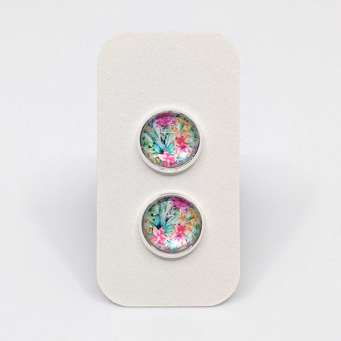 Silver Summer Floral Designer Stud Earrings with 925 Silver Posts