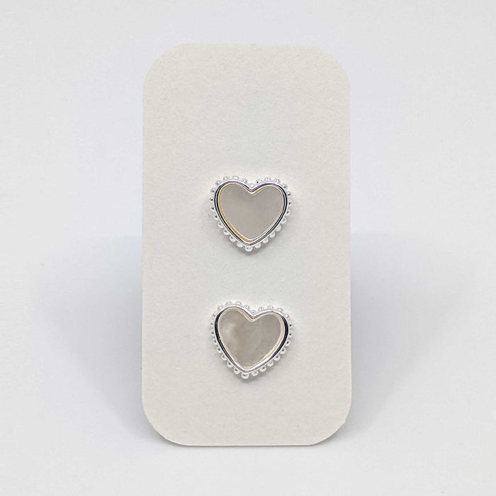 Silver Heart Stud Earrings with 925 Silver Posts